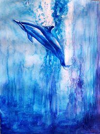 Dolphin in Blue Water - Cetacean Alien Race on Earth