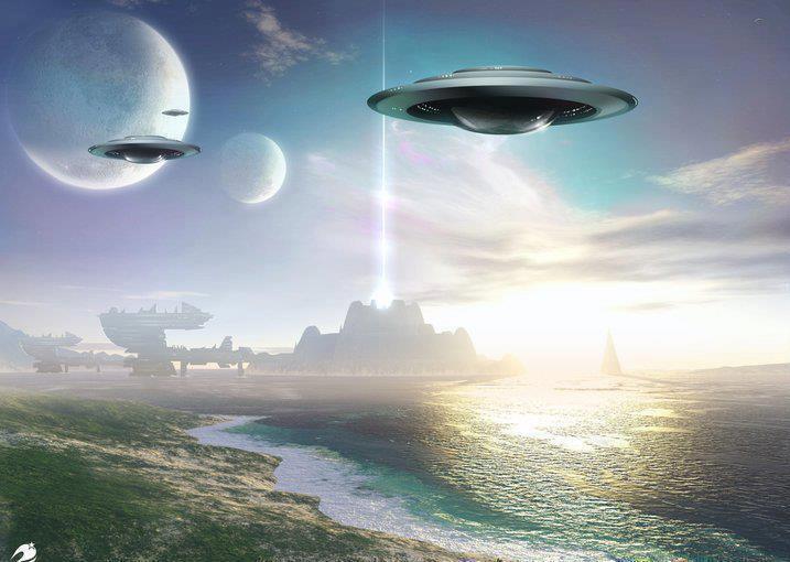 Spacecraft Over Alien Planet