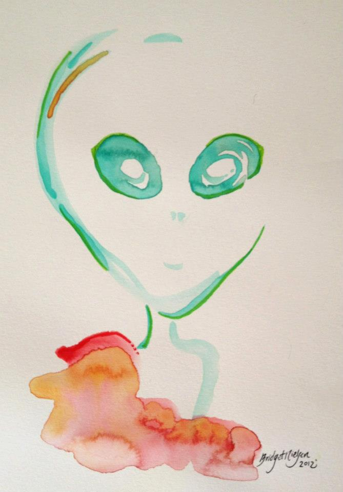 Watercolor of a grey alien being