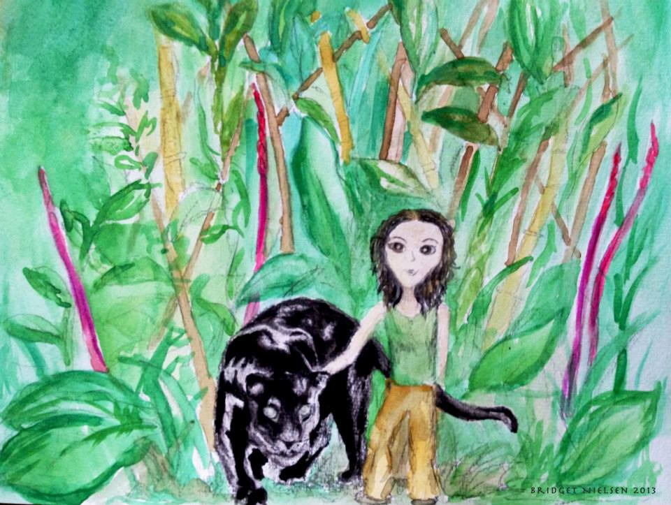 girl in the jungle with a panther