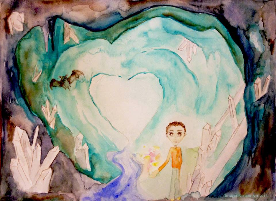 a heart shaped stone cavern with a boy