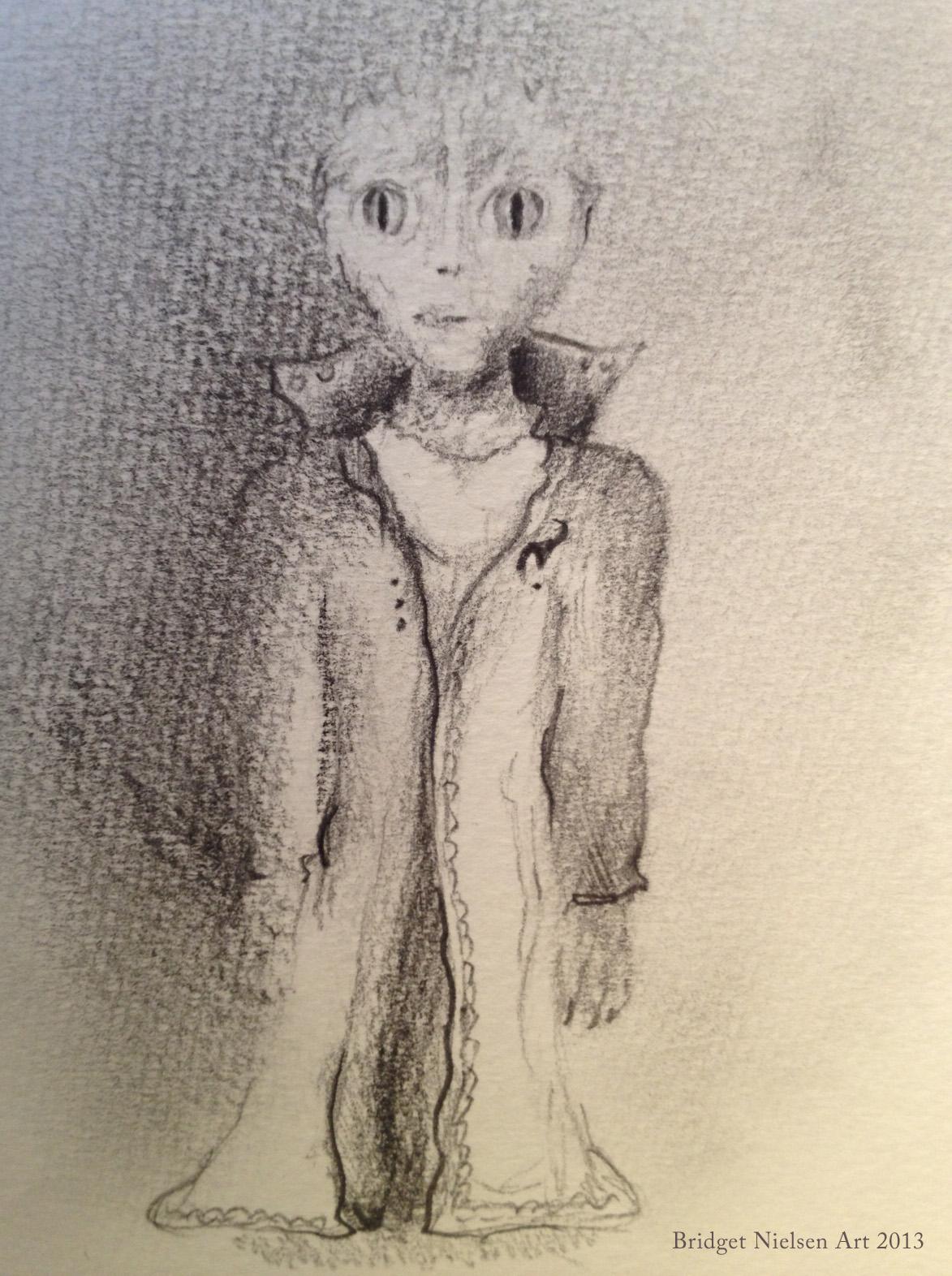 Drawing of a reptilian zeta alien