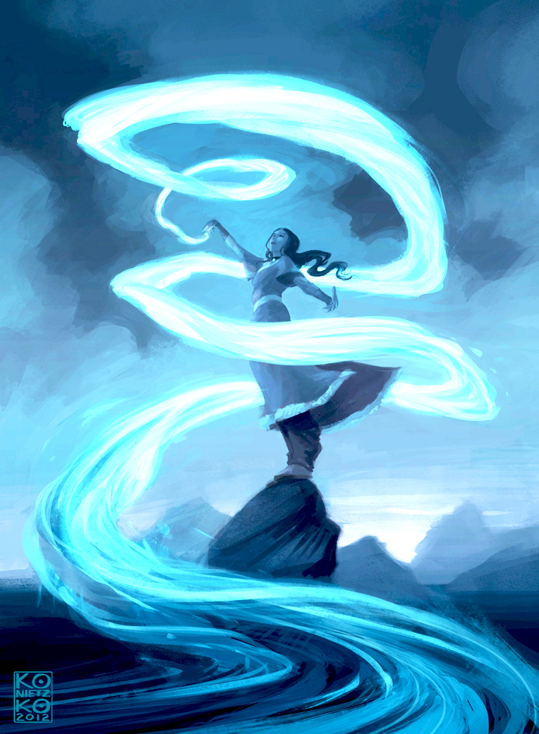 Airbender Girl swirling blue air into the sky