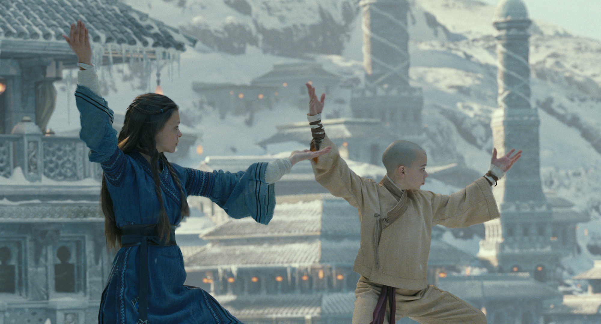 Two kids from The Last Airbender movie doing Chi Gong