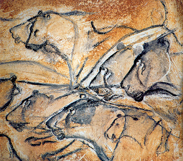 Ancient cave paintings from Chauvet, France