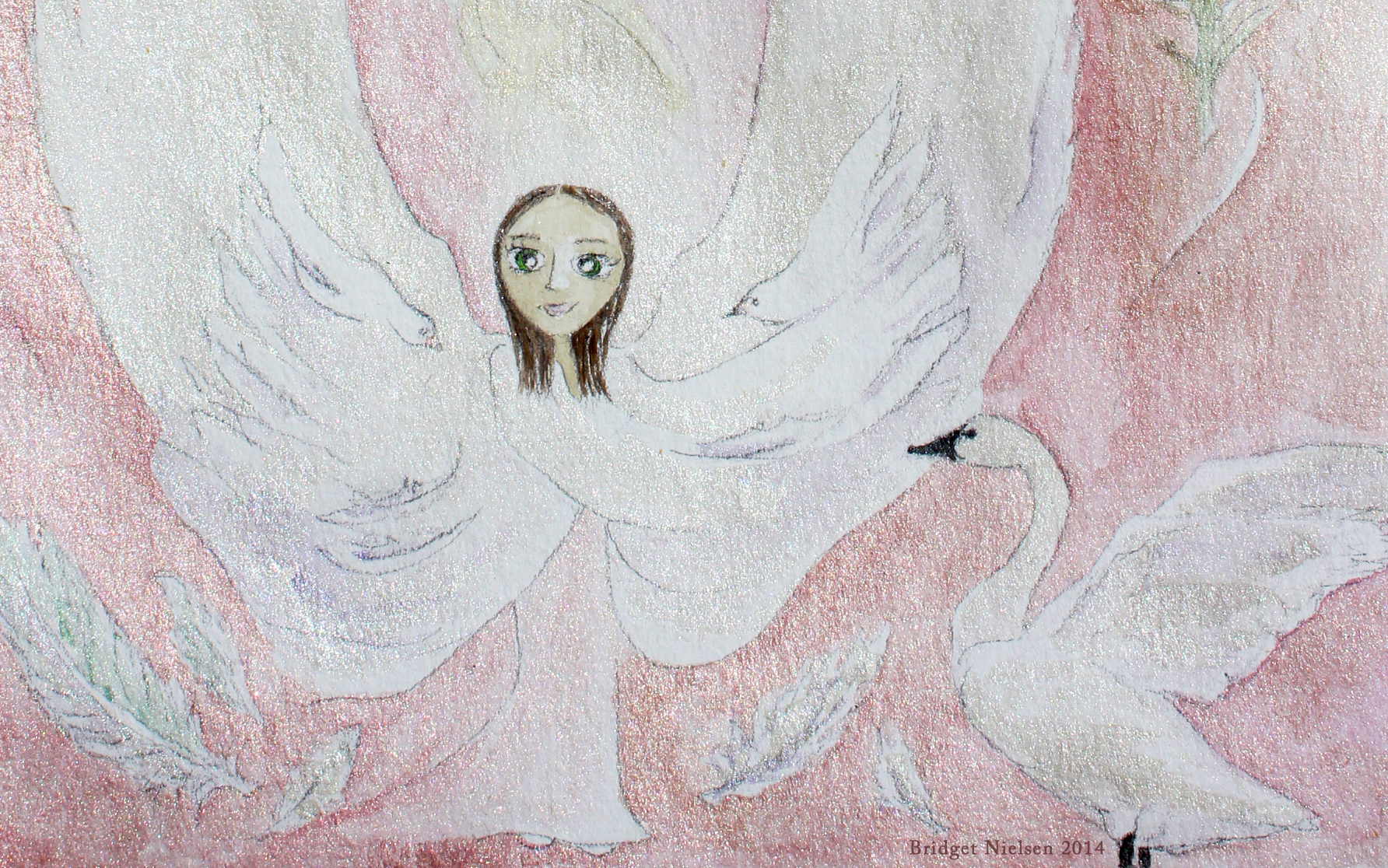 Little girl with wings and swan