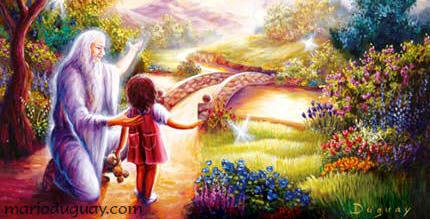 Picture of old man guiding girl across magical bridge