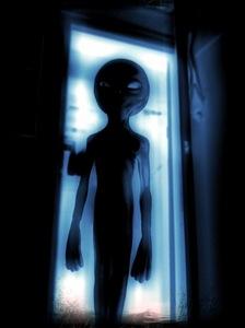 Zeta Reticuli, Grey Alien entering dark bedroom