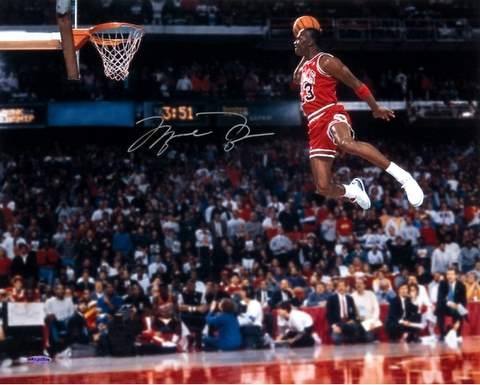 Michael jordan flying to the hoop