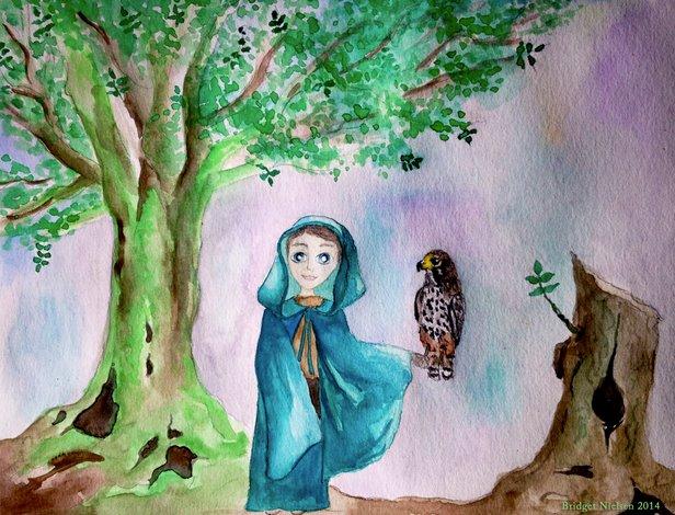 boy with hawk on his shoulder under a tree